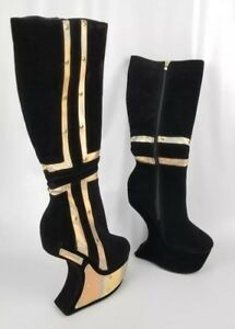 Black Iridescent Studded Curved Wedge Knee High Boots, US 7