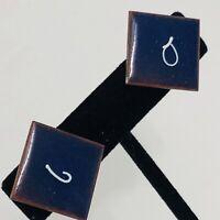 Vintage Modernist Copper Enamel Screw Back Earrings Mid Century Modern Blue