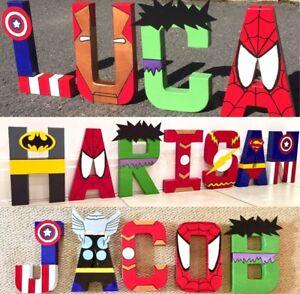 Childrens themed letters.Avengers Marvel superhero boys Spiderman batman justice