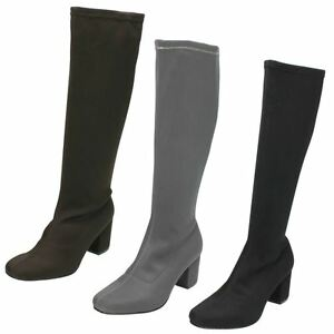 LADIES WOMENS SPOT ON MID HEEL STRETCH ZIP UP WINTER LONG KNEE BOOTS SIZE F50623