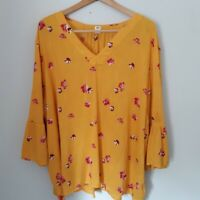 OLD NAVY Yellow Floral Top Blouse Sz XXL Yellow Floral Bell Sleeves Flowy Boho