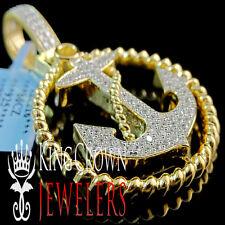 MENS REAL YELLOW GOLD STERLING SILVER SIMU DIAMOND JESUS ANCHOR PENDANT CHARM