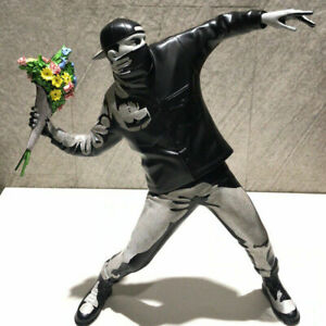 Banksy Flower Bomber Modern Art Sculpture Statue Resin Figurine Grey Collect