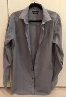 Marc Anthony Men's Shirt Black/Gray Striped Slim Fit Long Sleeve Sz 16 1/2 34-35
