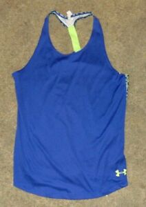 Under Armour Tank Top Youth Large Blue Green Heat Gear