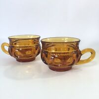 Indiana Glass Amber Kings Crown Thumbprint Coffee Mug Cup Set Of 2