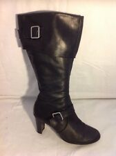 Fiore Leather Black Mid Calf Leather Boots Size 4