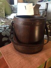 Vintage Basketville Putney Vermont Large Wooden Firkin Sugar Bucket Near Mint