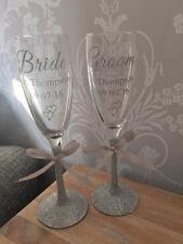 Personalised Glitter Wedding Glass set - Wedding Bride Groom