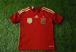 SPAIN TEAM 2013/2015 FOOTBALL SOCCER SHIRT JERSEY HOME ADIDAS ORIGINAL YOUNG XS
