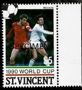 Eric Gerets of Team Belgium at 1990 World Cup Soccer Football Mint Stamp