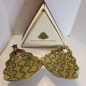 POTTERY BARN Season's Greetings Christmas Tree Appetizer Plates- Set of 4 w/Box