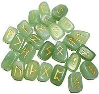 Jade Green Stone Spritual Rune Set Natural Healing Crystal Tumble Gemstone 25Pcs