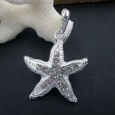 Bling 925 Silver Clear Crystal Cute Starfish Necklace Pendant Jewelry Gift
