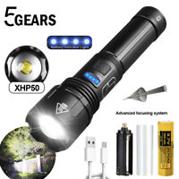 Ultra Bright 990000LM XHP50 LED Flashlight Zoomable USB Rechargeable Torch 21700