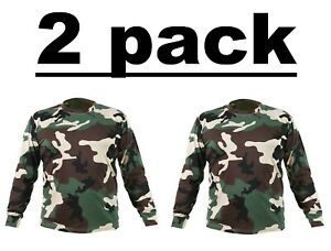 2 pack Mens Field Games Camouflage T Shirt Military Army Hunting Long Sleeve Top