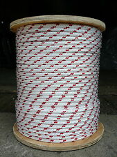 """Sailboat Rigging Rope 5/16"""" x 50' White/Red Double Braided Sheet Halyard Line"""