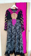 Black Pink Anarkali Lengha Asian Pakistani Abaya Eid Wedding Size Medium UK 12