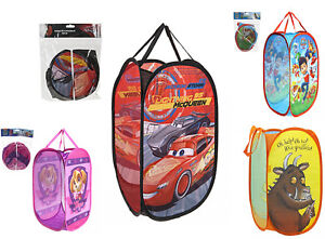Pop Up Room Tidy Bag / Storage Bin Laundry Basket Girls Boys Cars 3 PAW Patrol