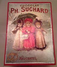 Red Wooden Reuge Music Box w/ Chocolat Ph. Suchard