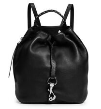 NWT $325 REBECCA MINKOFF PEBBLED LEATHER BLACK SHINY SILVER BLYTHE BACKPACK