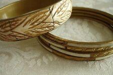 Brass Inlaid Bracelet Bohemian BoHo Hippie Bali Style Ivory Bone Color