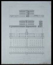 TOULOUSE, ASILE DE BRAQUEVILLE - 1865 - GRAVURE ARCHITECTURE - JEAN ESQUIE