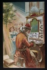 Rare~SANTA CLAUS~Playing Organ with Children~Antique TUCK Christmas Postcard-a60