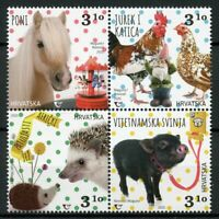 Croatia Farm Animals Stamps 2020 MNH Pygmy Pigs Hedgehogs Horses 4v Block