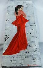Original Art 'Lady In Red' Acrylic On Canvass Painting Patricia May Clark