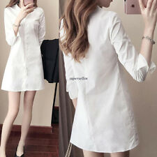 Korean Women Girl Solid Long Sleeve Button Down Tee Shirt Slim Short Mini Dress