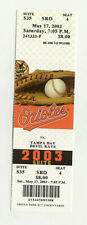 Baltimore Orioles Vs Tampa Bay Devil Rays May 17 2003 Unused Suite Ticket