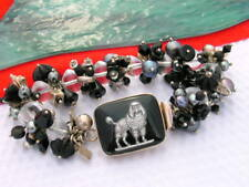 Sterling 925 Clear and Black Beads intaglio glass poodle dog Clasp Bracelet