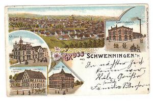 AK Villingen-Schwenningen -Elektizitätswerk, Postamt und Gasthaus Löwen- um 1902