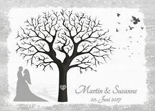 Fingerabdruck Hochzeitsbaum Leinwand Weddingtree NEUTRAL - Holzoptik Motiv52