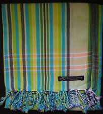 Kikoy Limettengrün Blau Mehrfarbig Afrika Baumwolle Sarong Überwurf Schal Kenia