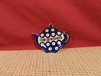 """Boleslawiec Pottery Poland Nature Pat. Teapot Ornament/Spoon Rest 4 1/2"""" x 3 1/2"""