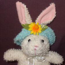 "Easter Bunny Rabbit Hat Flower Plush Stuffed Animal 10"" White Blue Sparkly"