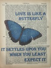 Butterfly Quote Art Printed On Antique Encyclopedia Page Vintage Home Decor