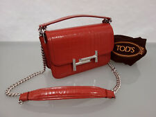 1350€ NEU TOD'S DOUBLE-T Crossbody Leder Handtasche Krokooptik Leather Bag Rot