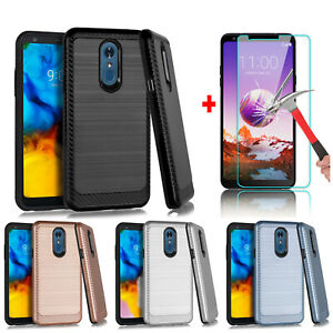 For LG Stylo 5 4 + Shockproof PC Phone Hybrid Case Cover +Glass Screen Protector