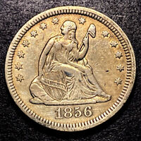 1856 Seated Liberty Silver Quarter 25c High Grade Details Toned Type Coin