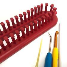 KnitUK Long Red Knitting Loom. 52 pegs fitted - medium gauge loom.