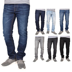 Crosshatch Men Jeans Slim Fit Faded Stretchable Denim Trousers All Waist Sizes
