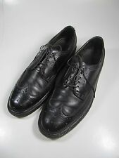 Vintage Sears Mens  Shoes 11D Black Leather Wing Tip Oxfords-Calfskin soles.
