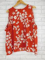 Witchery Cold shoulder top Long sleeves Red, white, grey floral print Sz 12