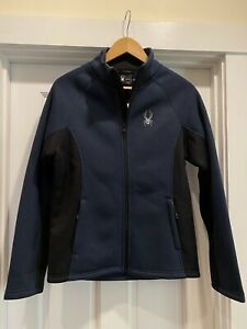 New Small Mens Spyder frontier sherpa lined Soft jacket S nwt $169 blue Black