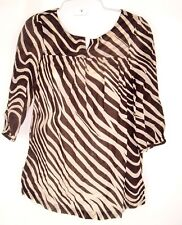 Oscar by Oscar De Renta Womens Striped Animal Print Zebra Top Blouse Size 4