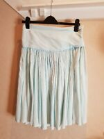 French Connection Light Green Boho Cotton Skirt Size UK10 Pleated Pretty Floaty