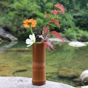 Japanese Bamboo Flower Vase Home Decoration Gift Wood Flower Pots Bottle Stands